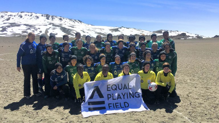 Women play record breaking football match at top of Mt Kilimanjaro to call for 'Equal Playing Field' for women in Sport
